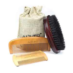 GLiving Beard Grooming Kit Set for Men Bamboo Boar Beard Brush and Wooden Comb Beard Mustache Oil and Balm Wax with Diffuser Palm Comb and Gift Box