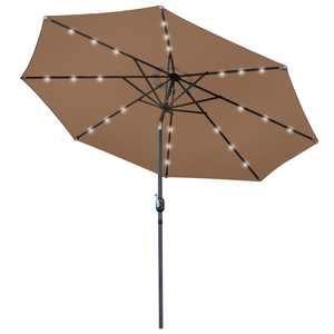 Zeny 10ft Solar LED Patio Offset Umbrella w/ Easy Tilt Adjustment
