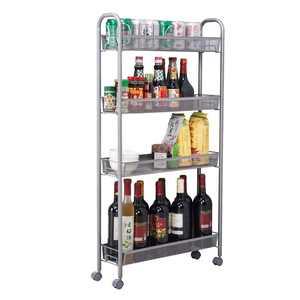 Ktaxon 4-Tier Rolling Cart Gap Kitchen Slim Slide Out Storage Tower Rack with Wheels,4 Baskets,Cupboard