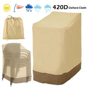 420D/210D Waterproof Stacking Chair Cover Foldable Outdoor High Back Chairs Patio Furniture Sun Shield Snow Protection Case