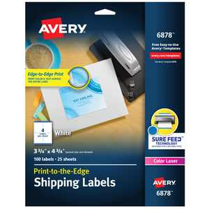 """Avery Shipping Labels, Sure Feed, 3-3/4"""" x 4-3/4"""", 100 Labels (6878)"""