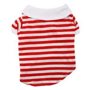 Pet Dog Puppy Stripe Pattern Clothes Polo T-Shirt Apparel Vest Red White Size M