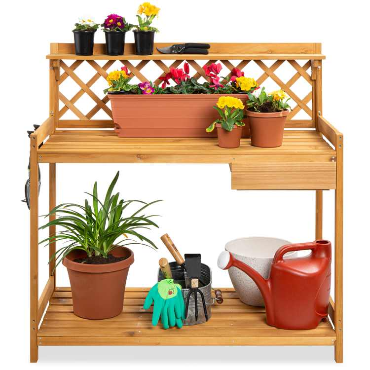 Best Choice Products Outdoor Wooden Garden Potting Bench, Workstation Table w/ Cabinet Drawer, Open Shelf - Natural