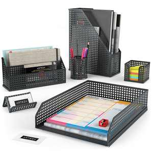 Arteza Desk Organizer, Black Mesh, for Office, Home, or Classroom - 6 Piece Set (ARTZ-8946)