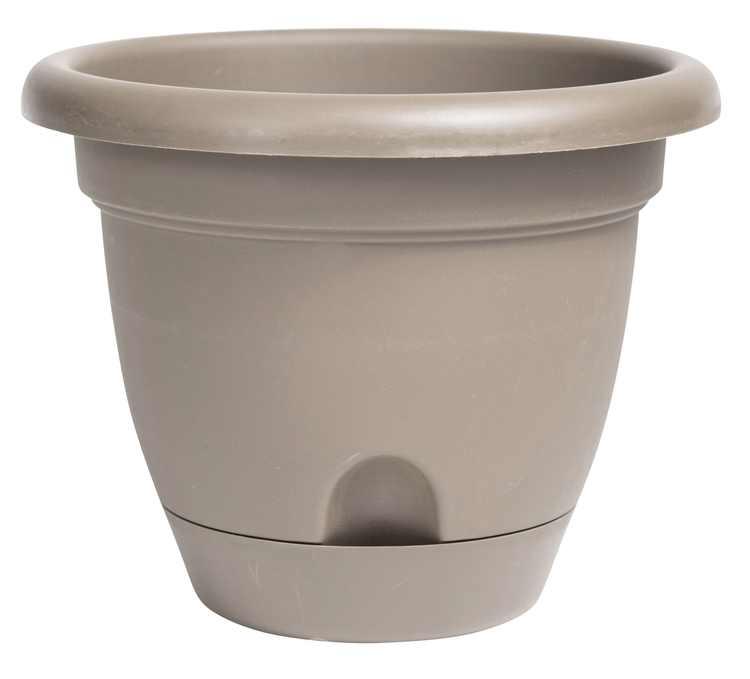 "Bloem Lucca Self Watering Planter w/ Saucer 16"" Pebble Stone"