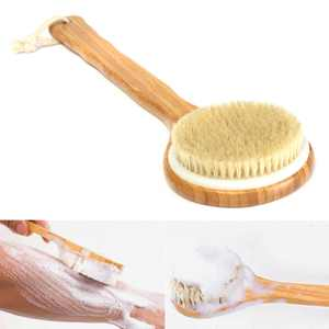 "15.7"" Natural Bristle Exfoliating Bath Brush Extra Long Handle Shower Brush Wooden Brush Back Body Scrub Scrubber Massager Shower Skin Spa"