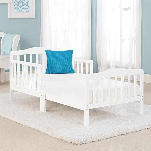 Zimtown Toddler Bed, Wood Kids Bedframe Children Classic Sleeping Bedroom Furniture w/Safety Rail Fence (White)
