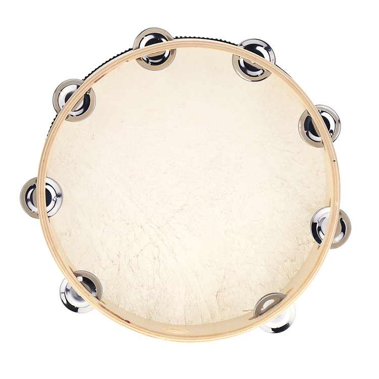 Anself 10inch Hand Held Tambourine Drum Bell Birch Metal Jingles Percussion Musical Instrument for KTV Party Kids Games