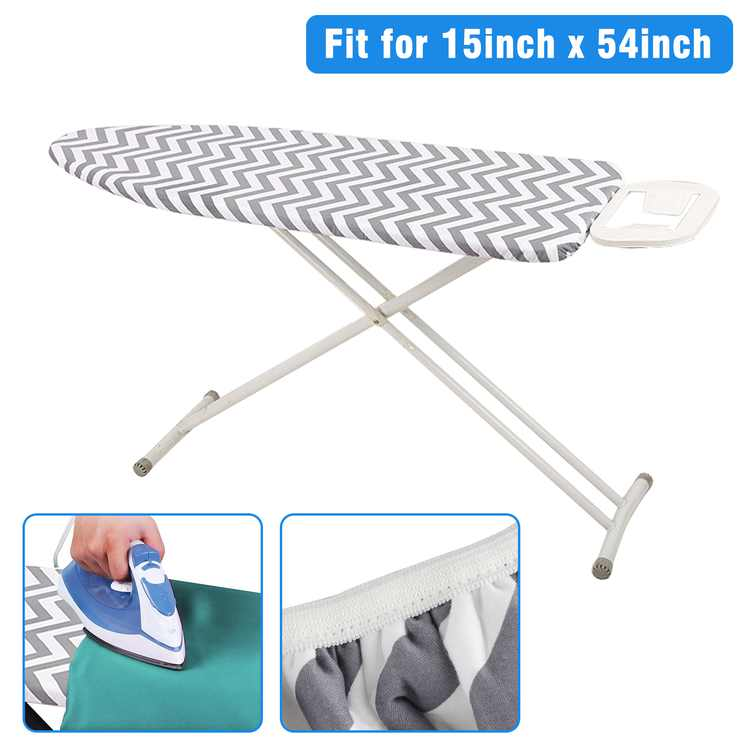 """EEEkit Silicone Ironing Board Cover and Pad Replacement, Scorch and Stain Resistant Thick Padding cover with Elasticized Edges, 15"""" x 54"""" Heavy Duty Iron Cover and Pad Fits for Standard Large Boards"""