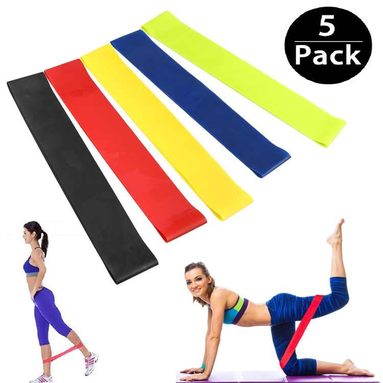 TSV 5Pcs Resistance Loop Bands, 12-inch Latex Workout Stretch Bands for Legs Butt Glutes Yoga Home Fitness Bands, Stretching, Physical Therapy Equipment Training for Exercise, Strength Training