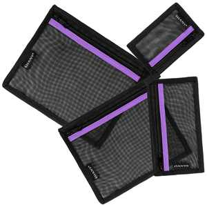 SHANY 4-in-1 Mesh Travel Toiletry and Makeup Bag Set - Assorted Sizes Cosmetic Organizers with Attaching Loops and Purple Accent