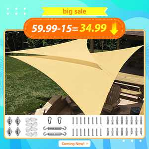 Quictent New Outdoor 18' x 18' x 18' Triangle Sun Shade Sail Canopy Patio Garden Top Cover- Sand