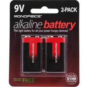 Monoprice Alkaline 9V Battery 2-Pack