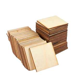 """60 Pack Unfinished Wood Cutouts 2""""x2"""" Wooden Square Sharp Corners Wood Craft Tiles Natural Rustic Laser Cut Out Wood Pieces for Crafts Ready to Paint Kids DIY Supplies Home Decoration Project Model"""