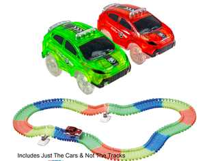 2 Magic Twister Flexible Glow In the Dark Race Car Track Vehicles - New New Turbo SUV Race Cars