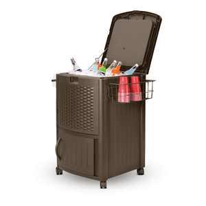 Suncast Wicker Outdoor Patio Cooler Cart with Cabinet, Java Brown