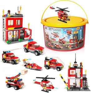 Building Blocks Fire Station City Coastline Emergency Rescue Team, 1000 Pcs 9 Models, Exercise N Play Creative DIY Construction Toys With Toy Bucket for Boys Girls 3-7 Years Old