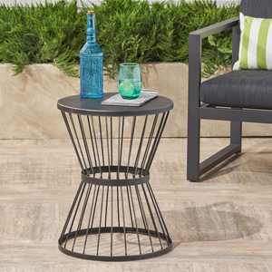 Fern Outdoor 16 Inch Matte Black Iron Side Table