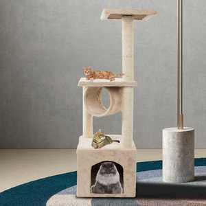Zimtown 36-in Cat Tree & Condo Scratching Post Tower, Brown