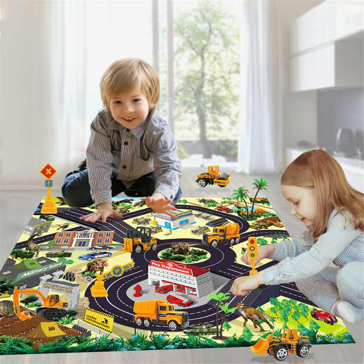 Diecast Engineering Construction Vehicle Toy Set w/ Play Mat, Truck Carrier, Forklift, Bulldozer, Road Roller, Excavator, Dump Truck, Tractor, Alloy Metal Car Play Set for Kids