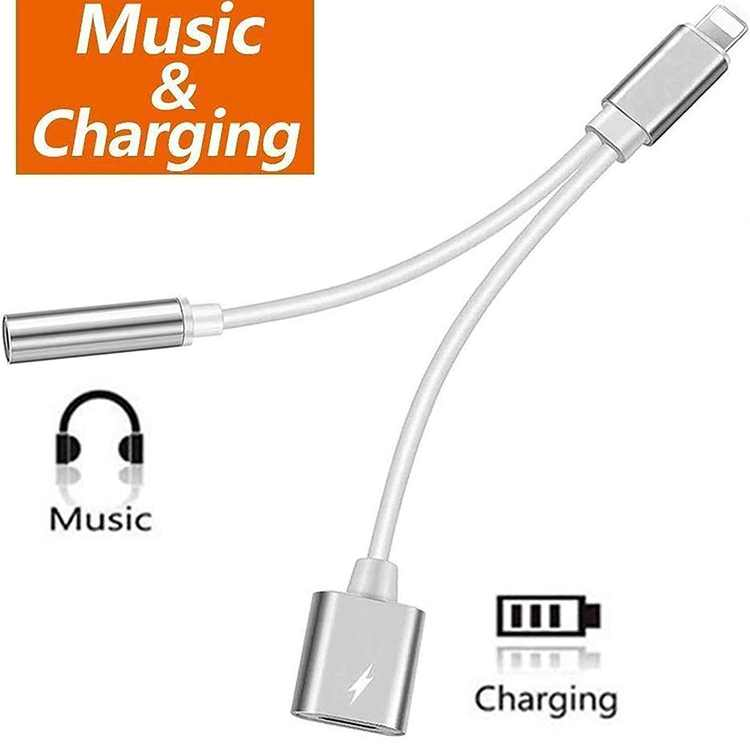 Lightning to 3.5 mm Headphone Jack Adapter Compatible with iPhone 8/8 Plus/X/Xr/Xs/7/7 Plus/11 , 2 in 1 Converter Splitter Cable Aux Audio Jack Dongle Adaptor Earbuds Jack Adapter