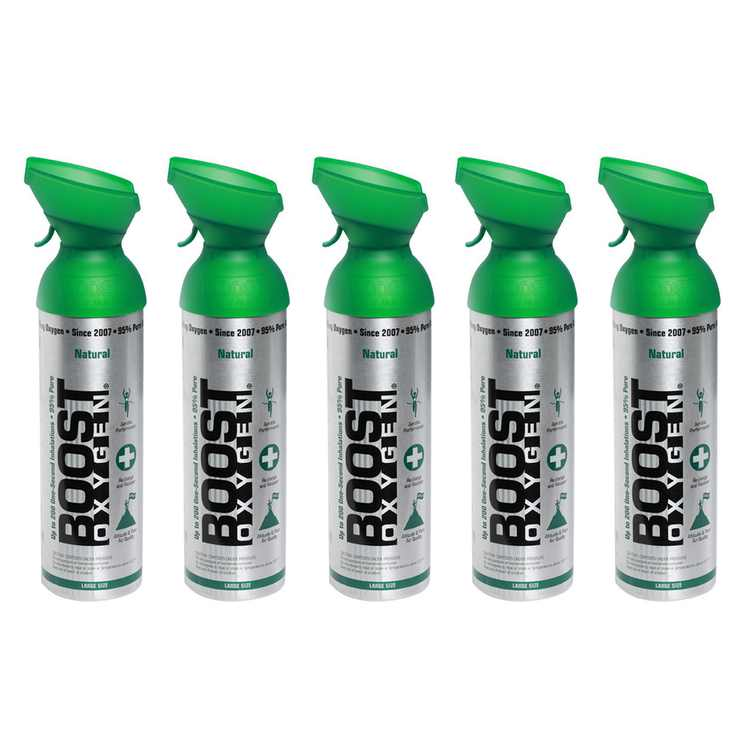 Boost Oxygen Natural Portable 10 Liter Pure Canned Oxygen Canister (5 Pack)