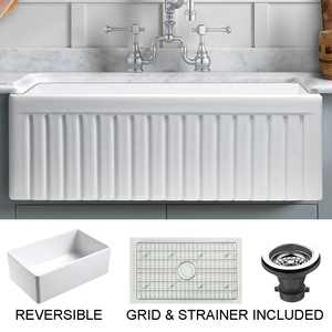 """Empire Industries Sutton Place Farmhouse Fireclay 33"""" Single Bowl Kitchen Sink with Grid and Strainer in White"""