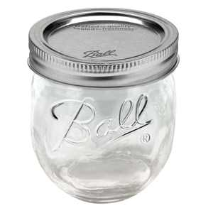 Ball, Glass Collection Elite Half-pint Jam Jars with Lids and Bands, Regular Mouth, 8 oz, 4 Count