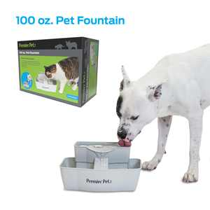 Premier Pet 100 oz. Pet Fountain - Automatic Water Fountain for Dogs and Cats