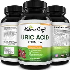 Natures Craft Uric Acid Kidney Support Supplement Detox Cleanse Decrease Acidity Gallbladder Health Pills Chanca Piedra Capsules 90ct