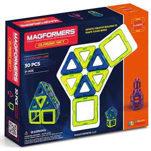 Magformers Classic 30 Pieces, Yellow, blue, Magnetic Geometric tiles STEM Toy Ages 3+
