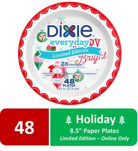 """Dixie Holiday Paper Plates, Limited Edition, 8.5"""", 48 Count"""