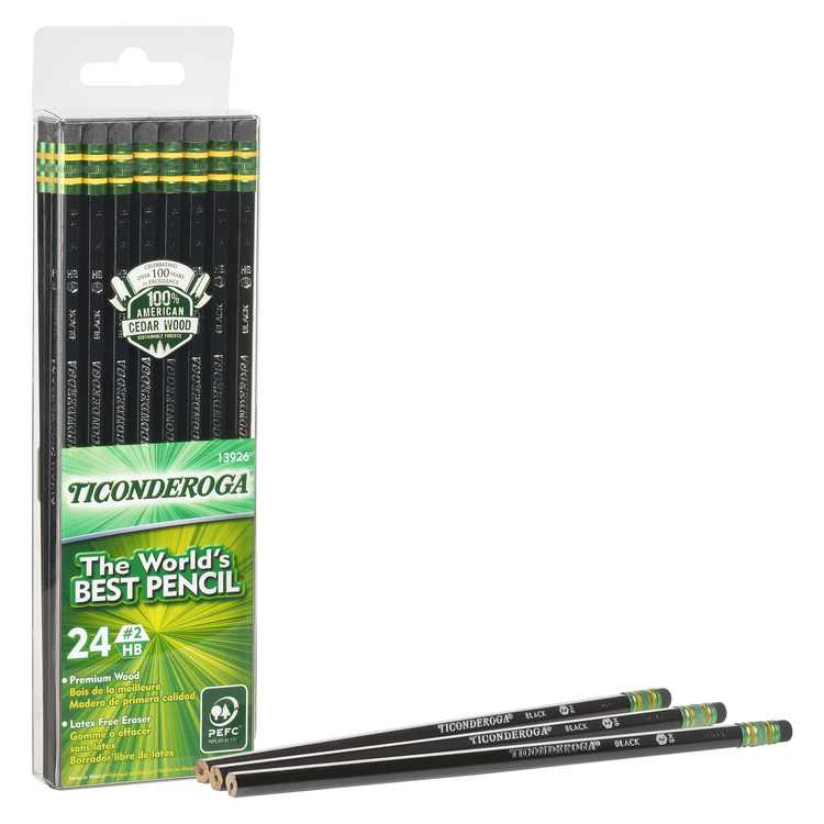 Ticonderoga Number 2 Soft Pencils, Wood-Cased Graphite Black, 24 Count