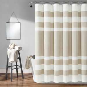 Lush Decor Cape Cod Stripe Yarn Dyed Cotton Shower Curtain, 72x72, Taupe, Single