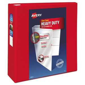 "Avery Heavy-Duty View 3 Ring Binder, 4"" One Touch EZD Ring, Holds 8.5"" x 11"" Paper, Red (79326)"