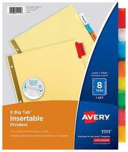 Big Tab Insertable Dividers, Buff Paper, 8-Tab Set, Multicolor, Multi Pack of 6 Sets (11111), Sturdy dividers that offer more printing space and secure inserts By Avery,USA