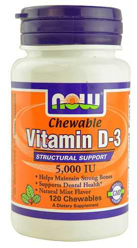 NOW Foods Chewable Vitamin D-3, 5000 IU, 120 Ct