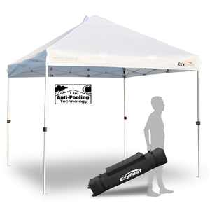 EzyFast 10 x 10 Foot Outdoor Pop Up Canopy for Rain or Shine w/ Carry Bag, White
