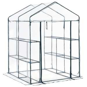 Outsunny 5' x 5' x 6' 3-Tier 8 Shelf Outdoor Portable Walk-In Garden Greenhouse Kit with Cover
