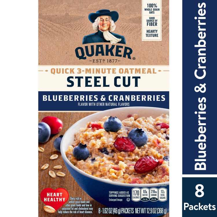 Quaker, Steel Cut Quick 3-Minute Oatmeal, Blueberries & Cranberries, 8 Packets