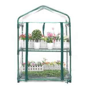 28X20X37Inch Garden 2-Tier Greenhouse  Outdoor Gardening Hot House with Zippered Cover and Metal Shelves for Growing Vegetables, Flowers and Seedlings