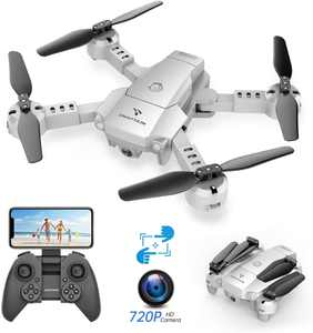 SNAPTAIN A10 Mini Foldable Drone with 720P HD Camera FPV Wifi RC Quadcopter /Voice Control, Gesture Control, Trajectory Flight, Circle Fly, High-Speed Rotation, 3D Flips, G-Sensor, Headless Mode-White