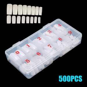 Natural Coffin Fake Nails - EEEkit 500pcs Short Ballerina Acrylic Nails Full Cover Ballet Shape Artificial False Nail Tips 10 Sizes