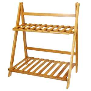 2 Tiered Plant Stand Bamboo Folding Ladder Potted Holder Display Shelving Indoor Flower Organizer Shelf Rack Outdoor Patio Lawn Garden Balcony