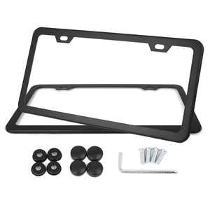 2 Pcs Stainless Steel Car Front Rear License Plate Frame Bracket w Screw Caps 2 Hole-Black