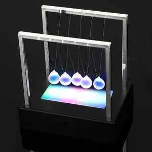 Newtons Cradle - 5 Pendulum Balls, Desk Newtons Cradle Balance Balls, Metal Balls For Office Toys, Physics Toys, Teacher Toys, Glass Ball Toy, Metal Ball Pendulum, Black Plastic Base