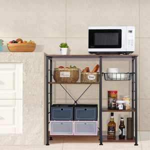 Industrial Kitchen Baker's Rack 3-Tier Microwave Stand Utility Storage Shelf With 7 Hooks Kitchen Organizer Rack
