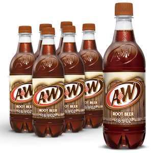 A&W Root Beer Soda, .5 L bottles, 6 pack
