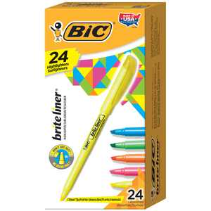 BIC Brite Liner Highlighter, Chisel Tip For Broad Highlighting & Fine Underlining, Assorted Colours, 24-Count