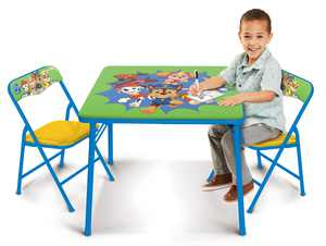 Paw Patrol Kids Erasable Activity Table Includes 2 Chairs with Safety Lock, Non Skid Rubber Feet & Padded Seats (Green/Yellow)